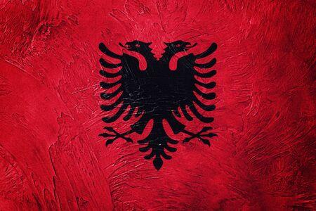 Grunge Albania flag. Albania flag with grunge texture. Stock Photo