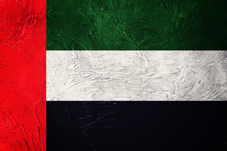 Grunge UAE flag. United Arab Emirates flag with grunge texture. Stock Photo