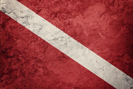 Vintage-Stil Scuba-Flagge. Taucherflagge. Standard-Bild