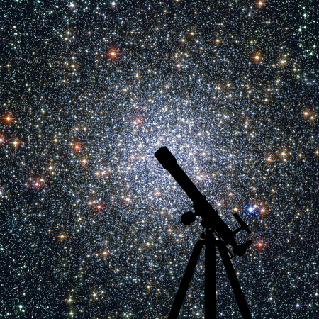 Space background with silhouette of telescope. Globular cluster 47 Tucanae,  NGC 104  in the constellation Tucana Elements of this image are furnished by NASA. Stock Photo