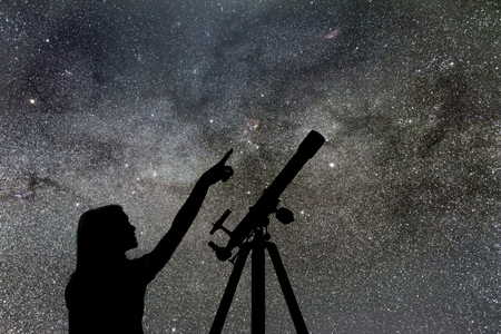 Girl looking at the stars. Telescope Milky Way Stock fotó