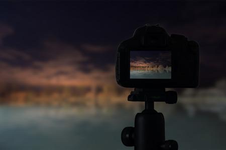 Digital camera the night view of lake reflection Stock Photo