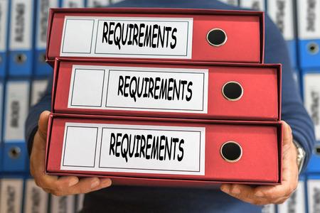 Requirements concept words. Folder concept. Ring binders. Archivio Fotografico
