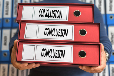 Conclusion concept words. Folder concept. Ring binders. Stock Photo
