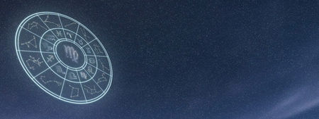 Simboli luminosi di cerchio zodiaco e oroscopo, Segno Zodiacale Vergine Archivio Fotografico - 87439056