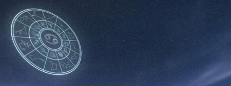 Light symbols of zodiac and horoscope circle, Cancer Zodiac Sign