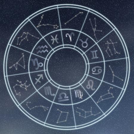 점성술 및 horoscopes 개념입니다. 점성 조디악 별이 빛나는 배경에 동그라미에 서명합니다.