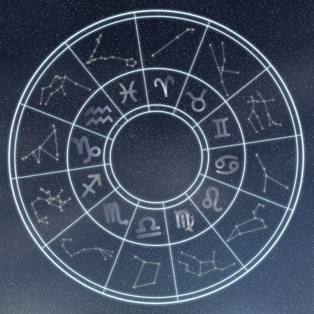Astrology and horoscopes concept. Astrological zodiac signs in circle on starry background. Stockfoto