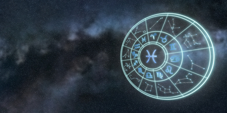 Light symbols of zodiac and horoscope circle, Pisces Zodiac Sign 版權商用圖片