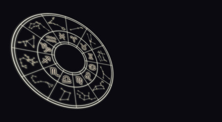 Astrology and horoscopes concept. Astrological zodiac signs in circle on starry background. Archivio Fotografico
