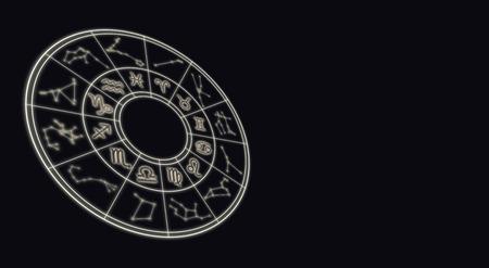 Astrologie en horoscopen concept. Astrologische sterrenbeelden tekenen in cirkel op sterrenachtige achtergrond. Stockfoto - 87439129