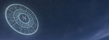 Light symbols of zodiac and horoscope circle, Pisces Zodiac Sign Stock Photo