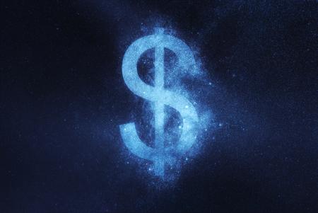 Dollar sign, Dollar Symbol. Abstract night sky background 版權商用圖片