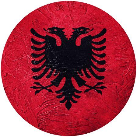 Grunge Albania flag. Albania button flag Isolated on white background Stock Photo