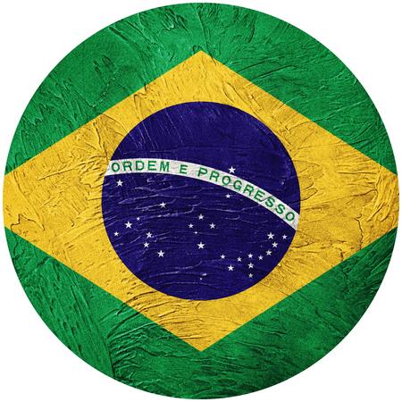 Grunge Brasilien Flagge. Brasilianische Knopfflagge lokalisiert auf weißem Hintergrund Standard-Bild - 87835658