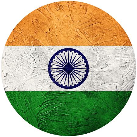 Grunge India flag. India button flag Isolated on white background