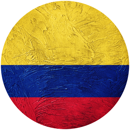 Grunge Colombia flag. Colombian button flag Isolated on white background