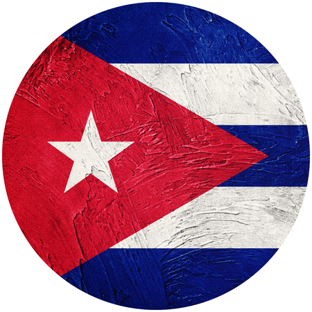 Grunge Cuba flag. Cuban button flag Isolated on white background