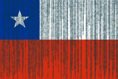 bandera chilena: Data protection Chile flag. Chilean flag with binary code. Foto de archivo