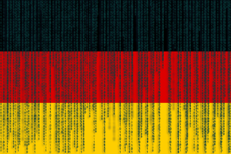 Data protection Germany flag. German flag with binary code.