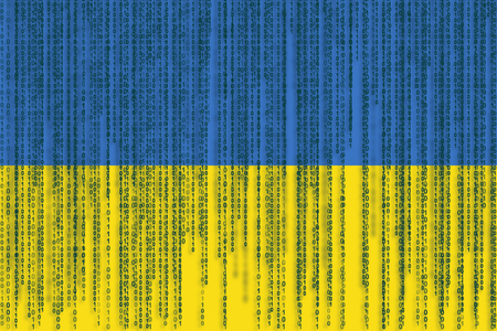 Data protection Ukraine flag. Ukraine flag with binary code. Stock Photo