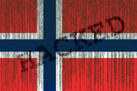 Data Hacked Norway flag. Norway flag with binary code.