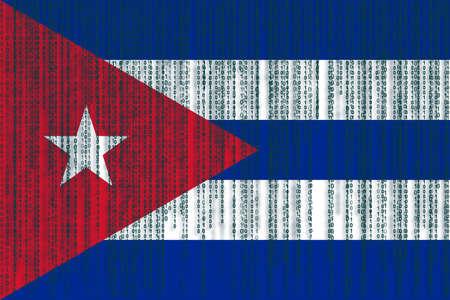 Data protection Cuba flag. Cuban flag with binary code.
