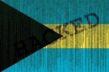 Hacked Bahamas flag. Bahamas flag with binary code. Stock Photo