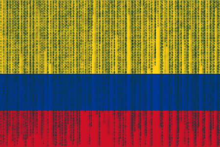 Data protection Colombia flag. Colombian flag with binary code. Stock Photo