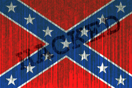 Data Hacked Confederate flag. Confederation flag with binary code.