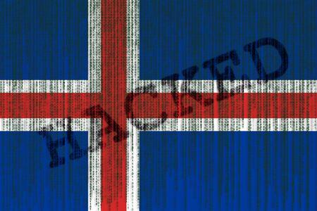 Data Hacked Iceland flag. Iceland flag with binary code.