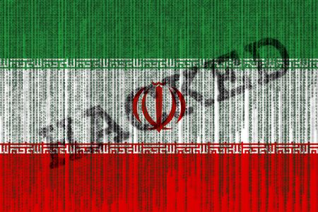Data Hacked Iran flag. Iran flag with binary code.