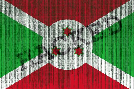 Data Hacked Burundi flag. Burundi flag with binary code.