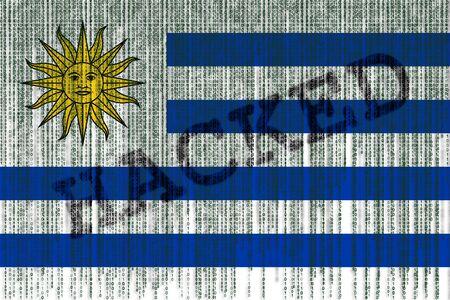bandera de uruguay: Data Hacked Uruguay flag. Uruguay flag with binary code. Foto de archivo