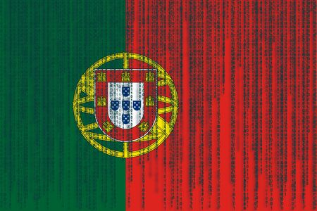 bandera de portugal: Data protection Portugal flag. Portugal flag with binary code.