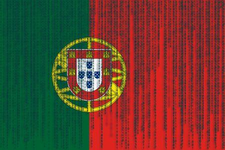 drapeau portugal: Drapeau de protection des données Portugal. Drapeau du Portugal avec code binaire.
