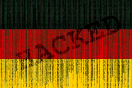 Data Hacked Germany flag. German flag with binary code.
