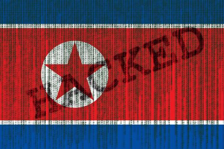 Data Hacked North Korea flag. North Korea flag with binary code.