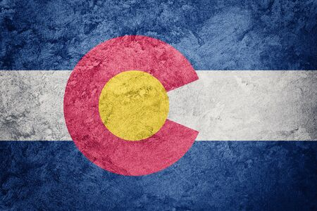 Grunge Colorado state flag. Colorado flag background grunge texture.