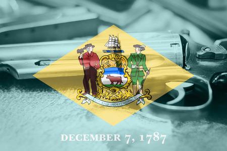 Delaware flag (U.S. state) Gun Control USA. United States Gun Laws. Stock Photo