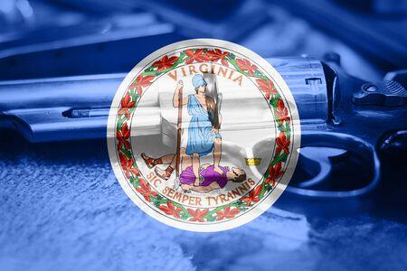 Virginia flag (U.S. state) Gun Control USA. United States Gun Laws. Stok Fotoğraf