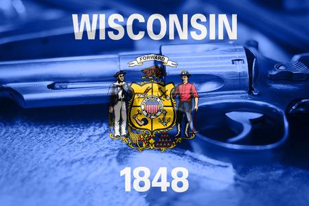 Wisconsin (U.S. state) flag Gun Control USA. United States Gun Laws. Stock fotó