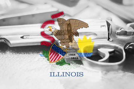Illinois flag (U.S. state) Gun Control USA. United States Gun Laws.