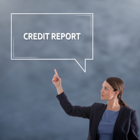 CREDIT REPORT Business Concept. Business Woman Graphic Concept Banque d'images