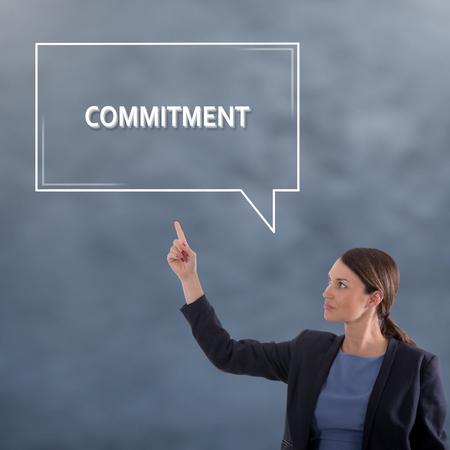 COMMITMENT Business Concept. Business Woman Graphic Concept