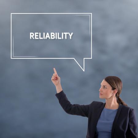 RELIABILITY Business Concept. Business Woman Graphic Concept Stock Photo