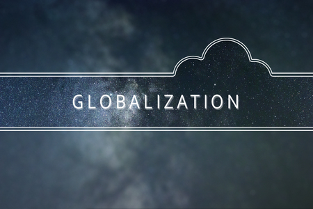 GLOBALIZATION word cloud Concept. Space background.