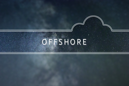 OFFSHORE word cloud Concept. Space background.