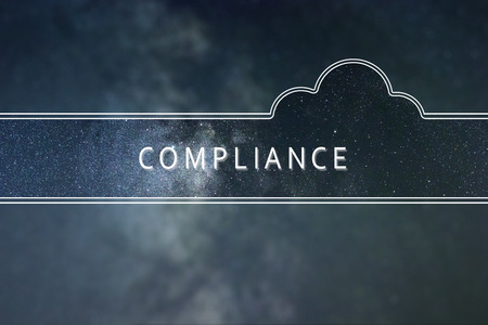 COMPLIANCE word cloud Concept. Space background. Imagens