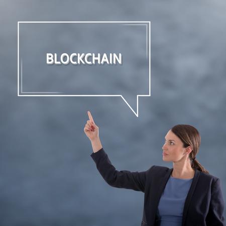 BLOCKCHAIN CONCEPT Business Concept. Business Woman Graphic Concept